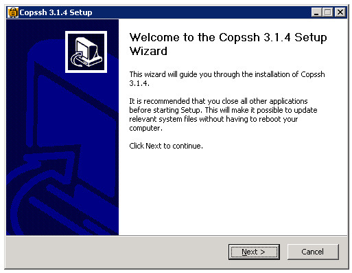 The Copssh installation wizard