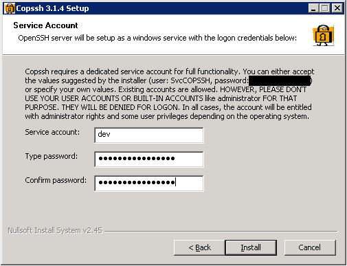 The Copssh installation wizard showing the user name