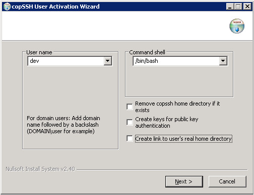The Copssh Activate User dialog