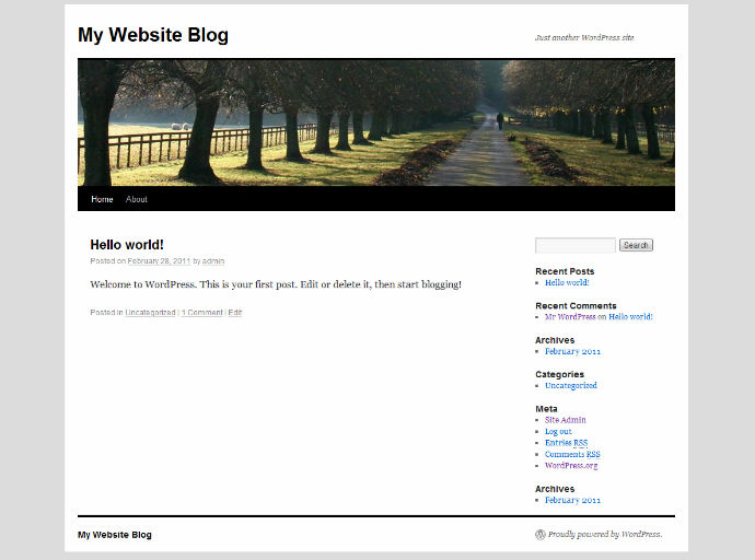 A WordPress default installation displaying the TwentyTen theme