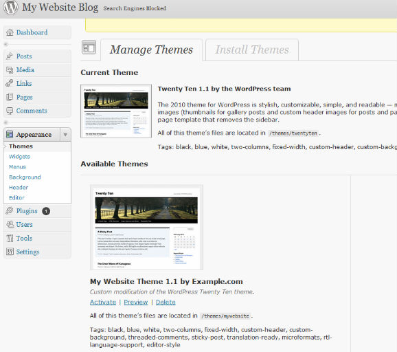 WordPress dashboard showing the newly created theme